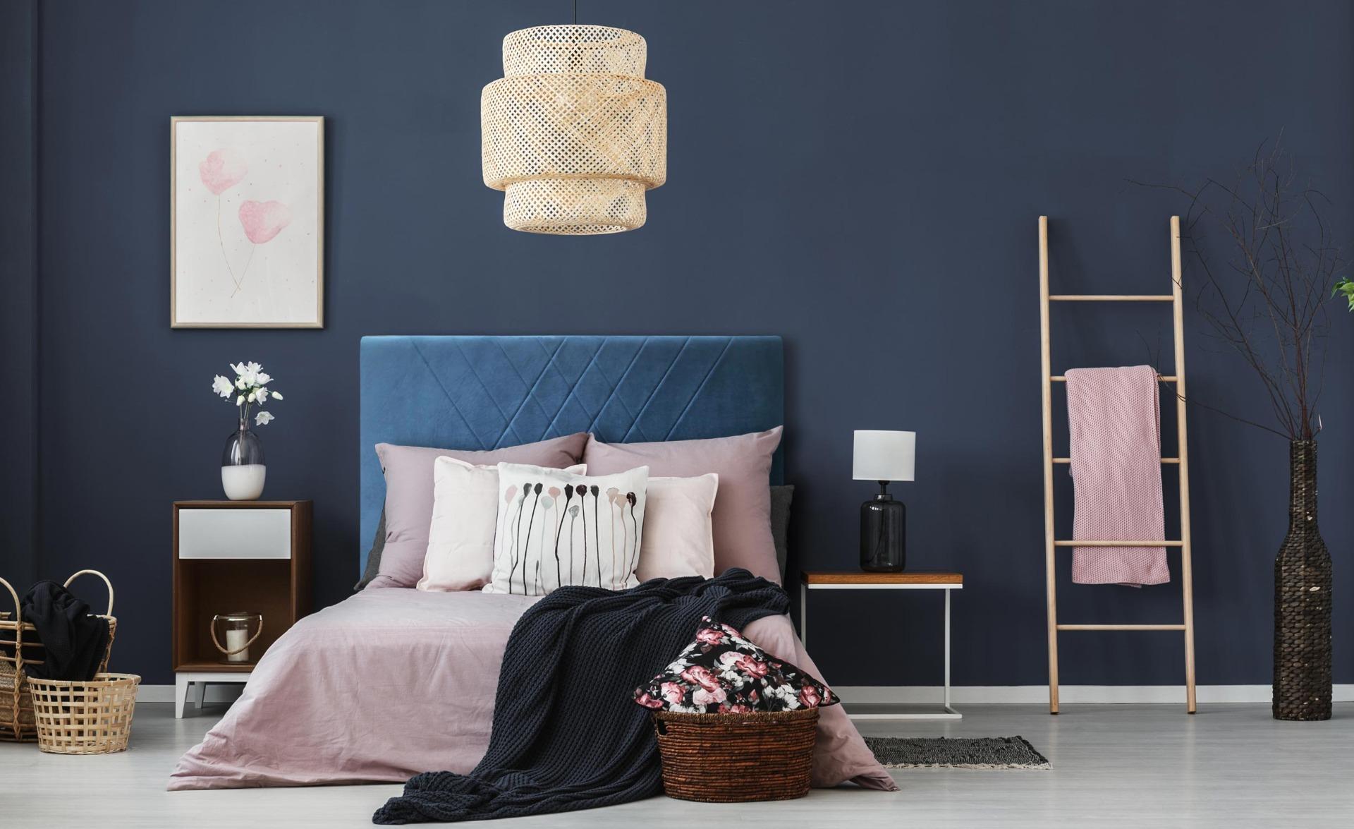 Diam Kopfteil Bett 140cm mit Samtbezug Blau