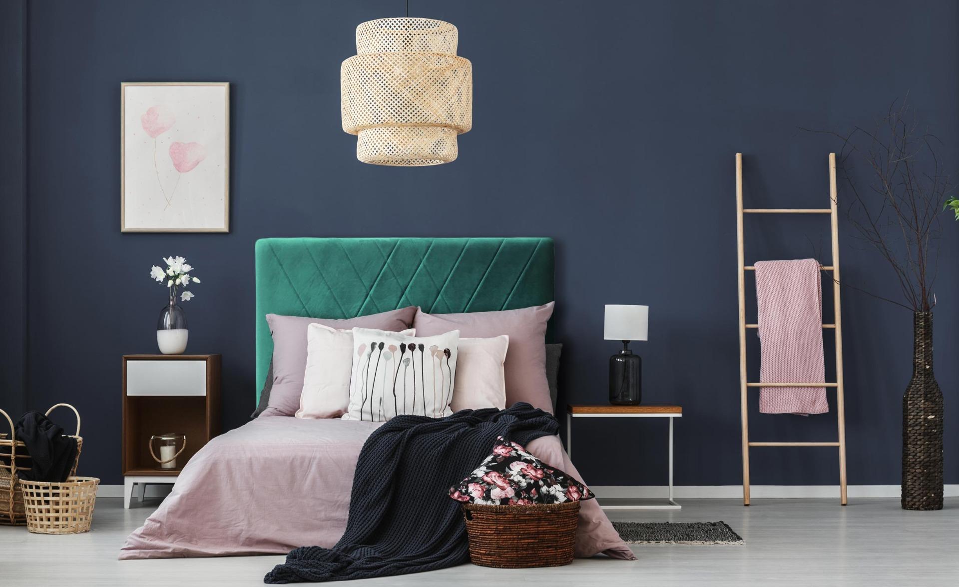 Diam Kopfteil Bett 140cm mit Samtbezug Grün