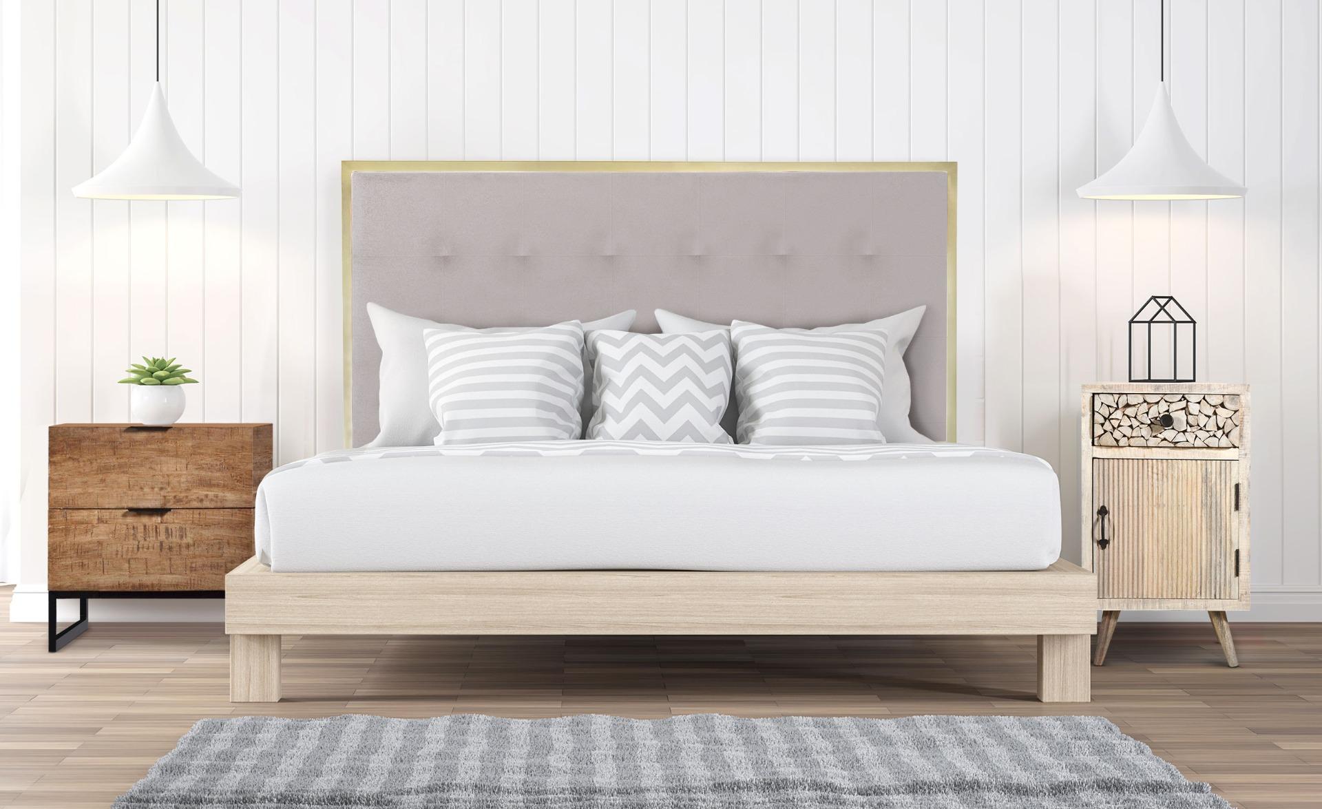 Donna Kopfteil Bett 160 cm Gold Metall und Stoffbezug Beige