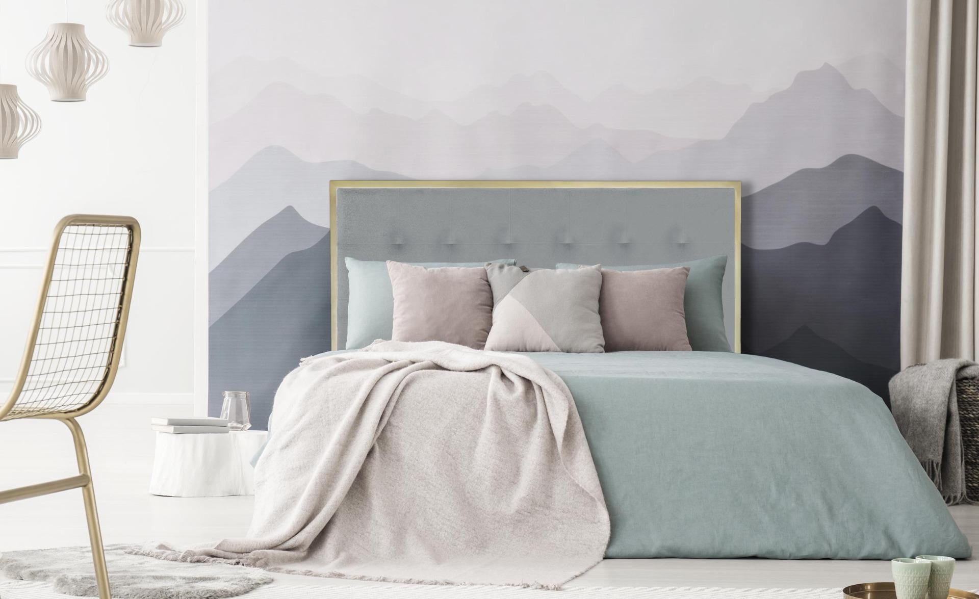 Donna Kopfteil Bett 160 cm Gold Metall und Stoffbezug Hellgrau