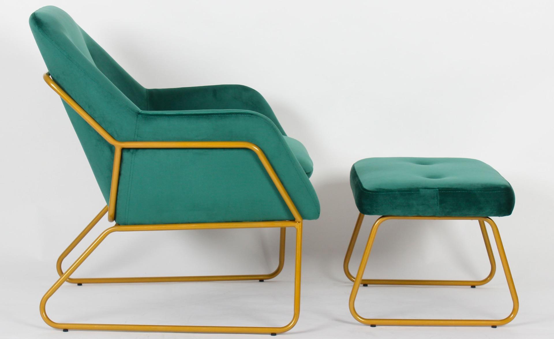 Eloi Sessel + Hocker, Samtbezug Grün
