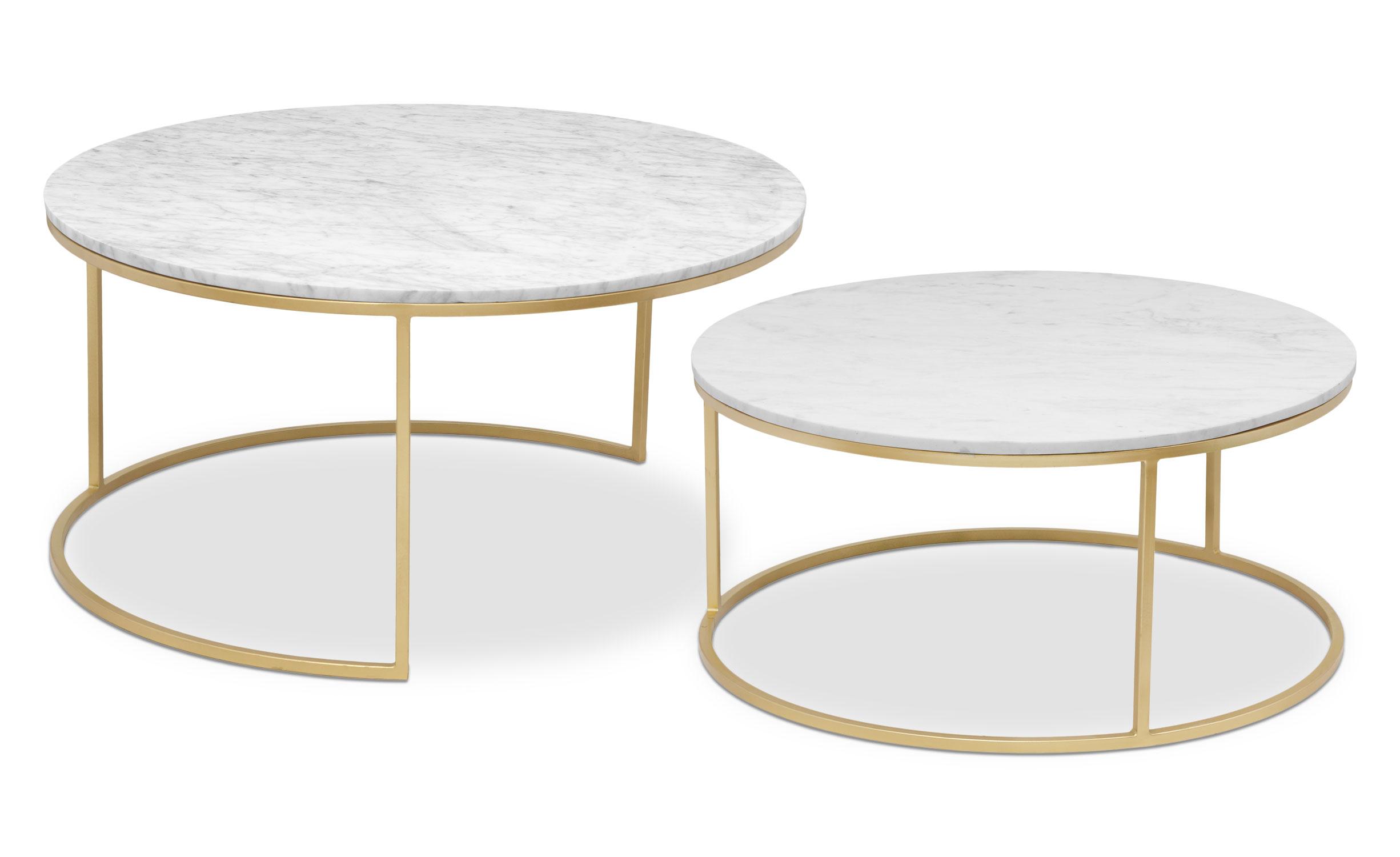 2er-Set Artik XL Couchtische aus goldfarbenem Metall und weißem Marmor