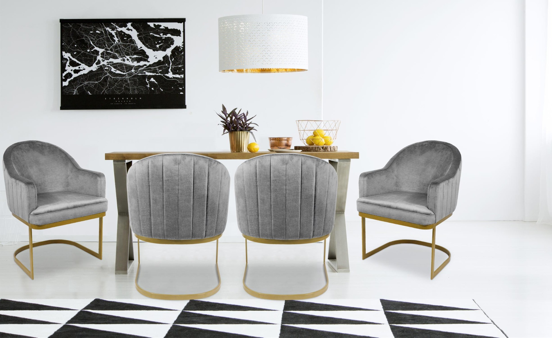 Everest Stuhl / Sessel mit Stoffbezug Grau