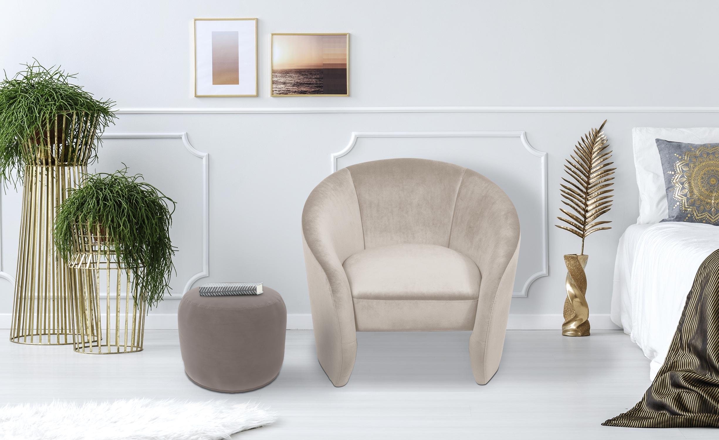 Adamante Runder Sessel mit Samtbezug Beige