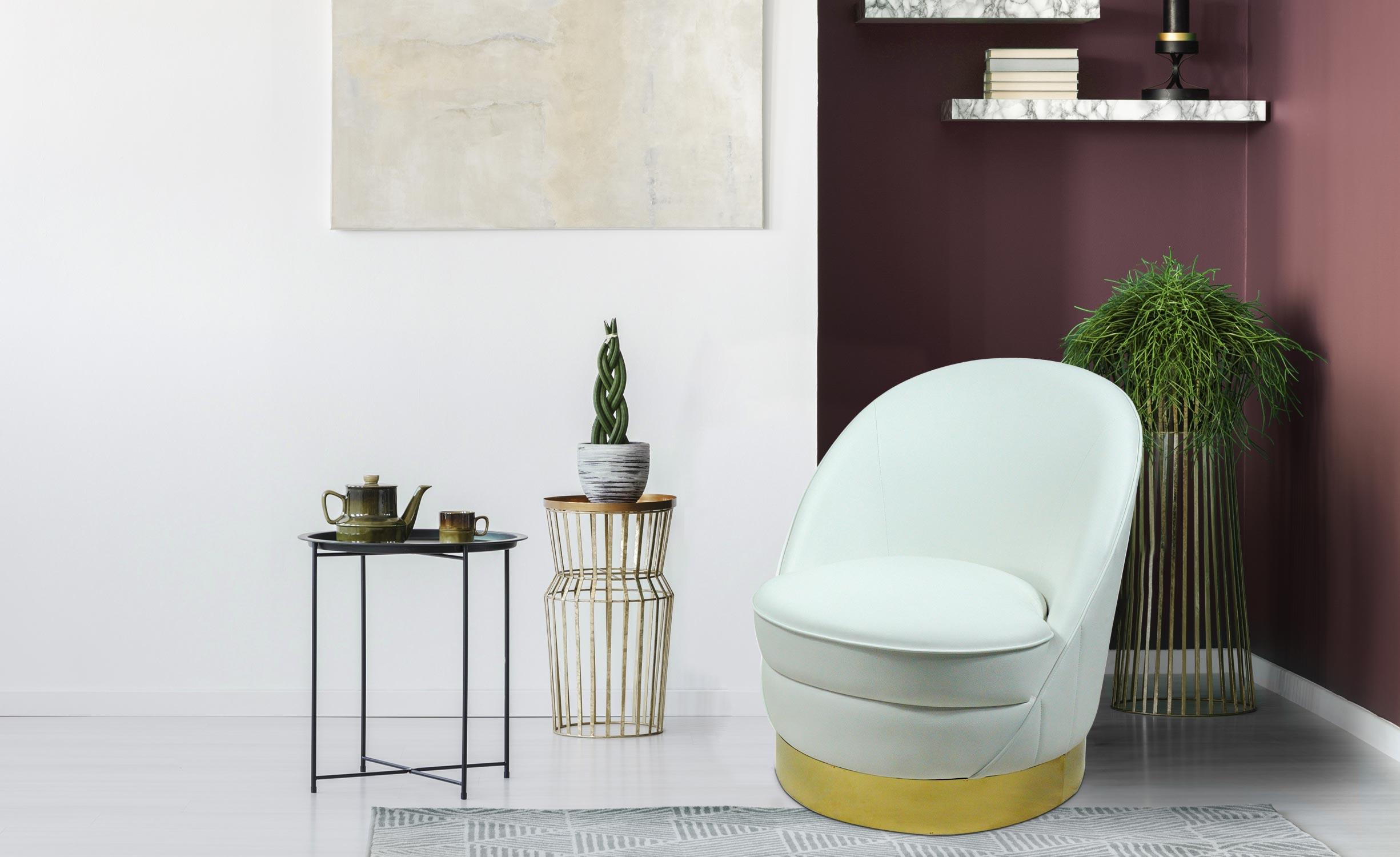 Aristy Runder Sessel mit Kunstleder Weiß