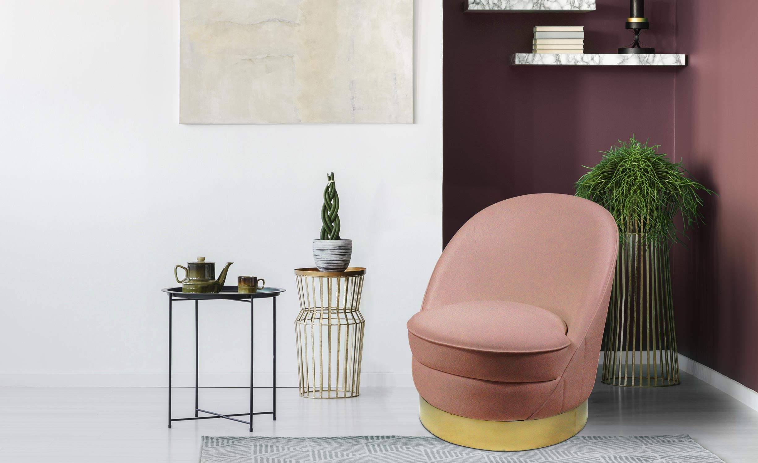 Aristy Runder Sessel mit Samtbezug Rosa