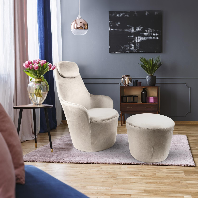 Dongal Sessel + Hocker Samtbezug Beige