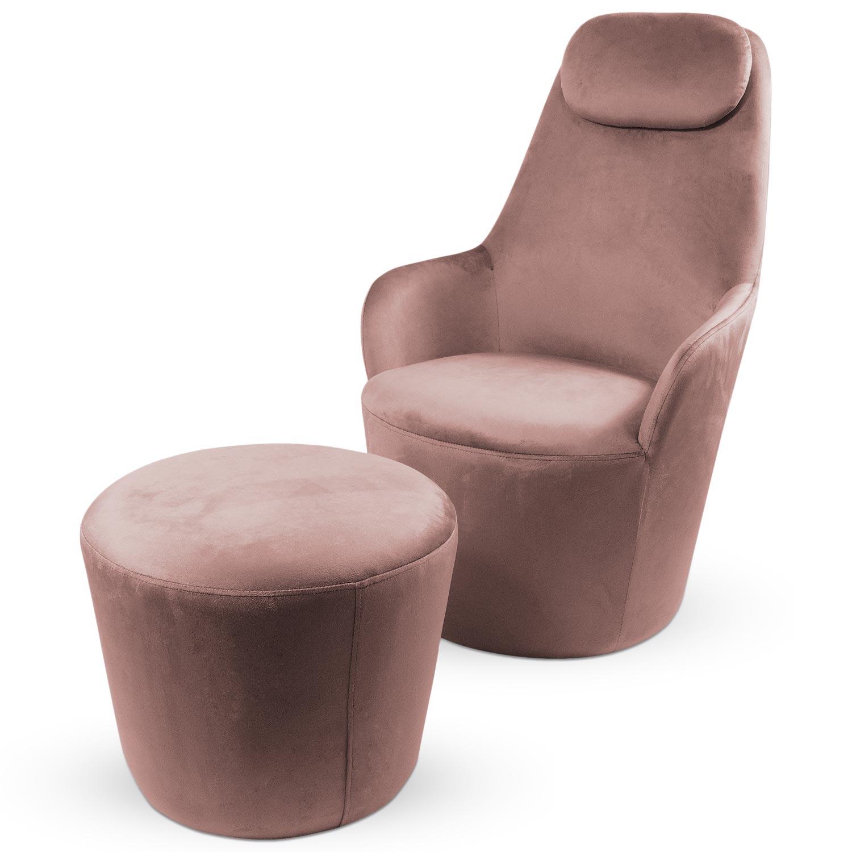 Dongal Sessel + Hocker Samtbezug Rosa