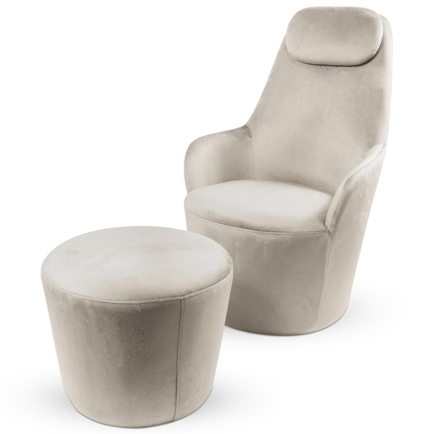 Fauteuil Dongal avec repose-pieds Velours Taupe