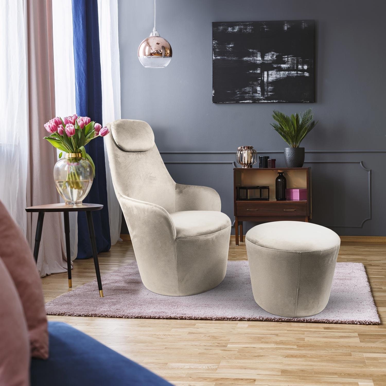 Dongal Sessel + Hocker Samtbezug Taupe