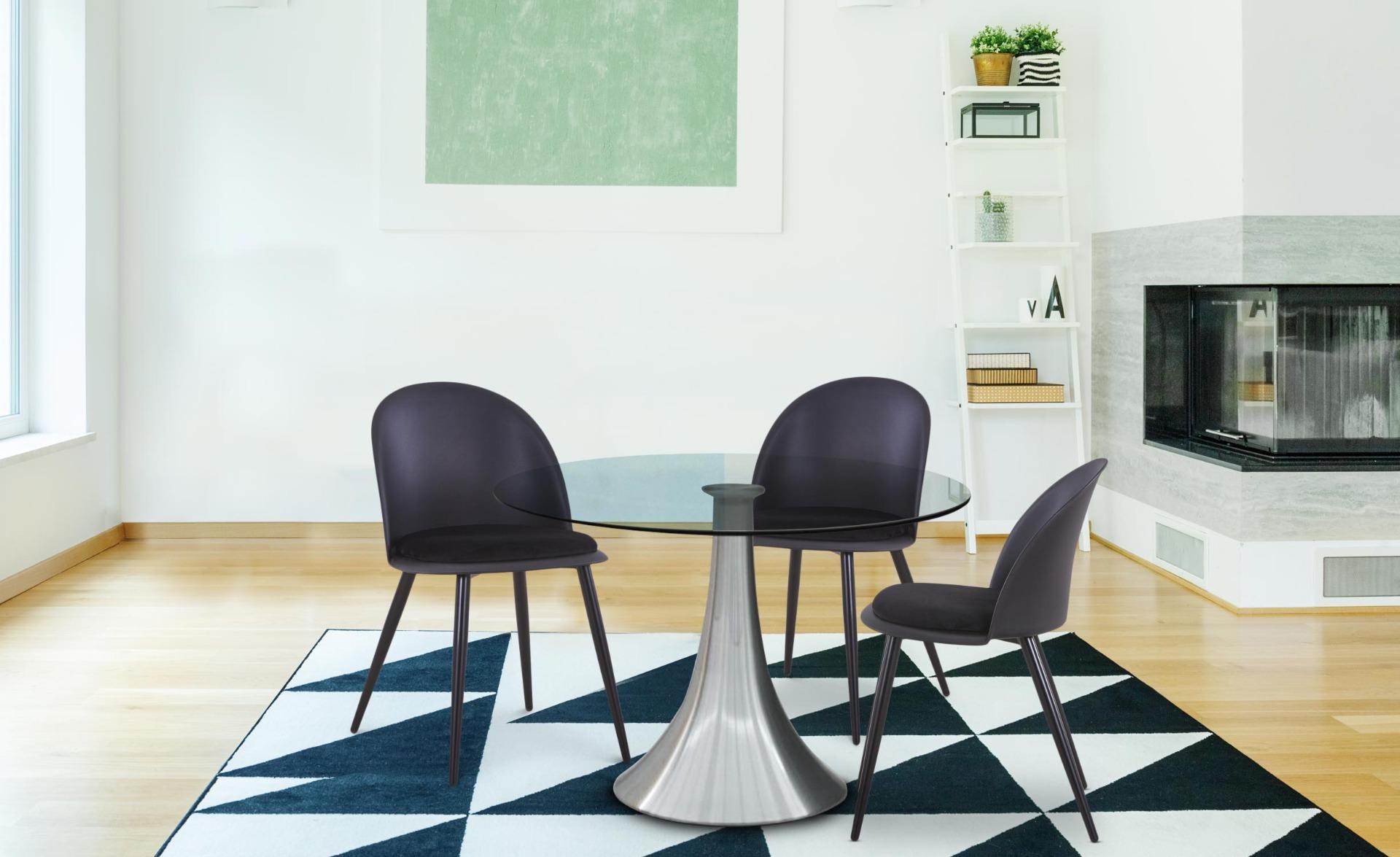 Fuji Set mit 4 Stühlen Schwarz