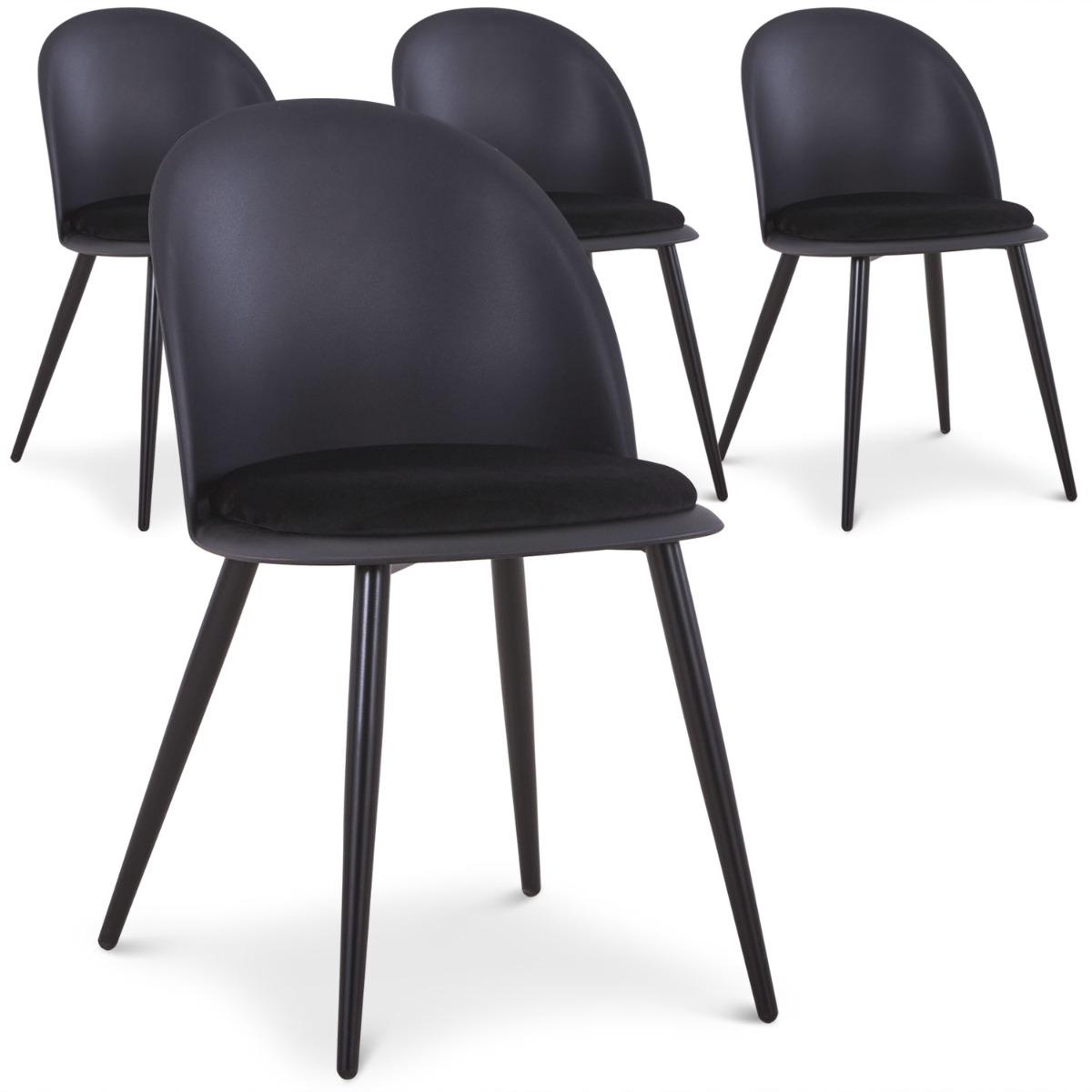 Lot de 4 chaises Fuji Noir