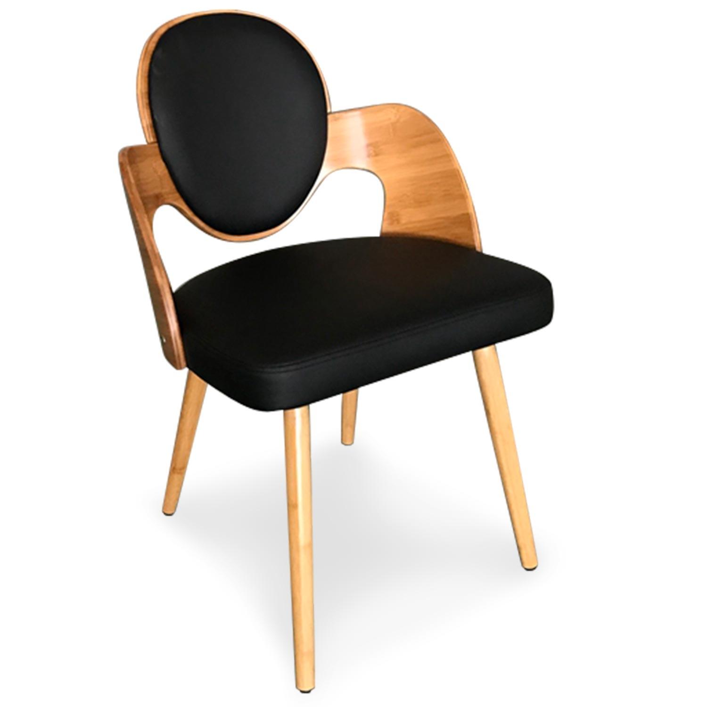 Galway Set mit 2 skandinavischen Stühlen Naturholz und Kunstlederbezug Schwarz