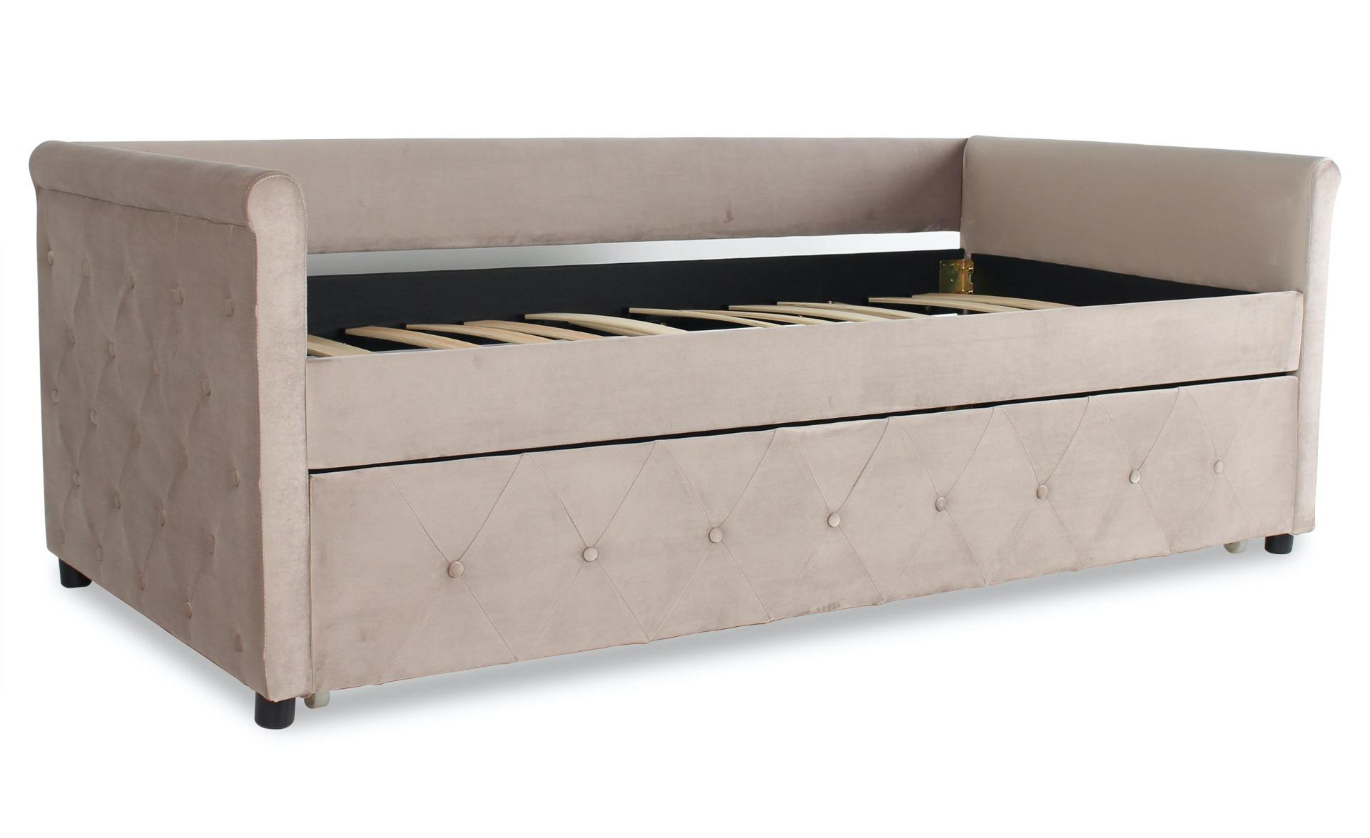Garry Ausziehbares Einzelbett mit Samtbezug Taupe