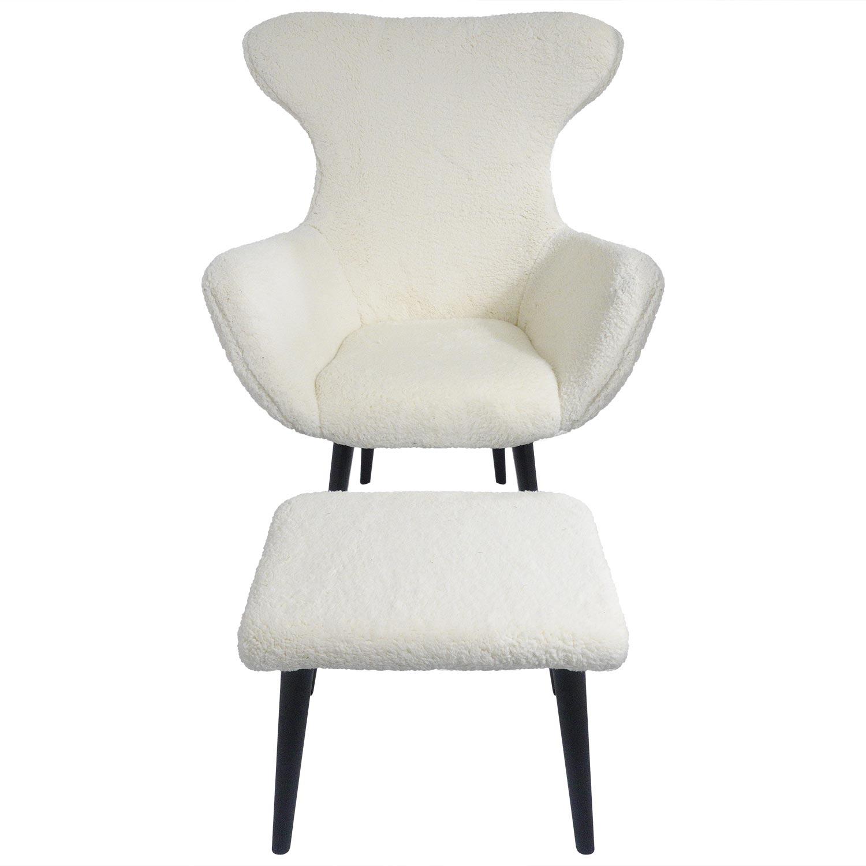 Geoplus Sessel + Hocker, Stoffbezug mit Schaffell-Effekt Creme