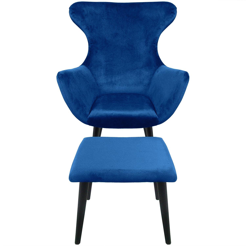 Geoplus Sessel + Hocker, Samtbezug Blau