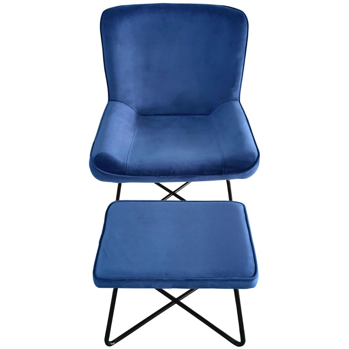 Georgie Sessel + Hocker, Samtbezug Blau