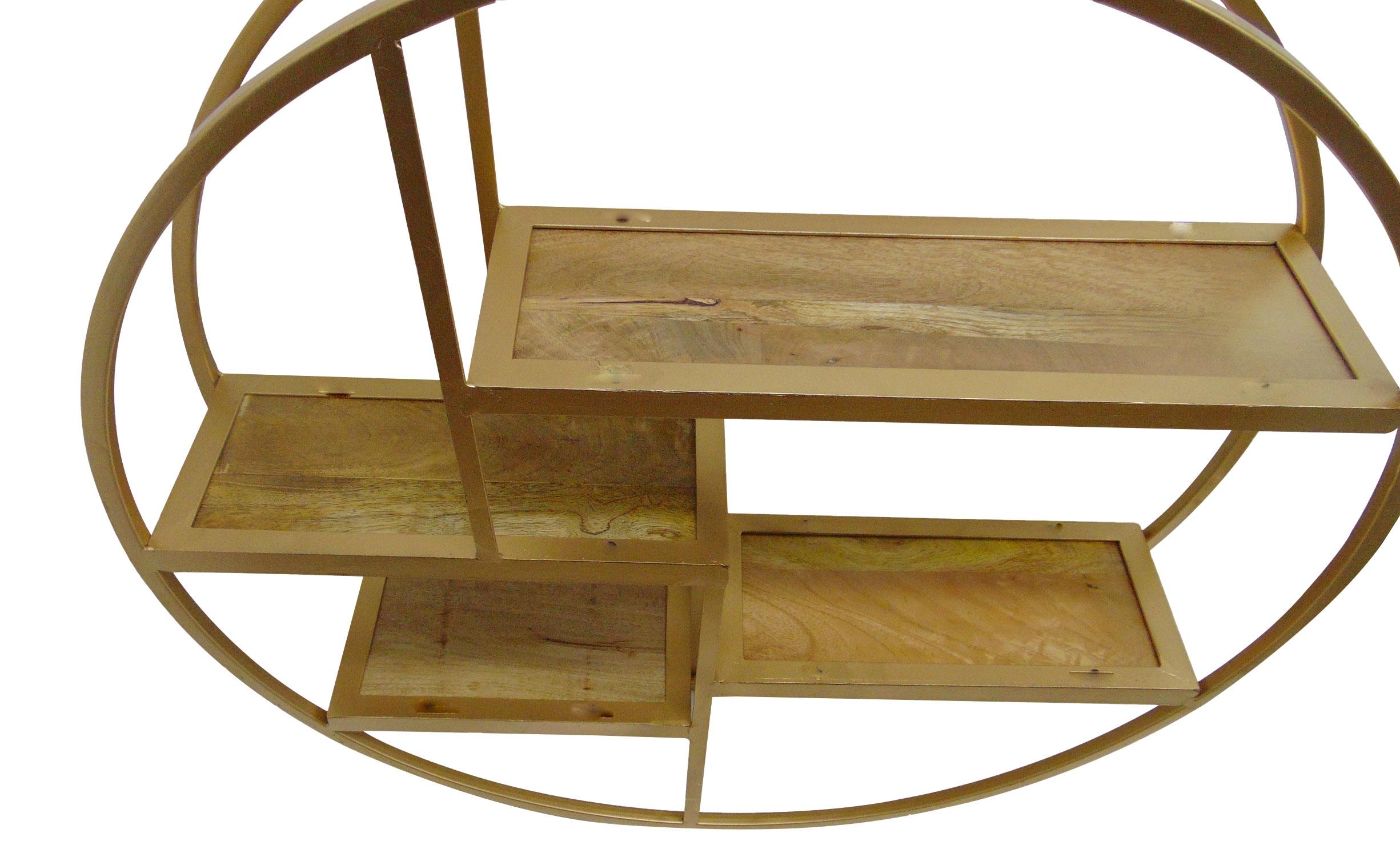 Girane Rundes Regal aus goldenem Metall und Holz