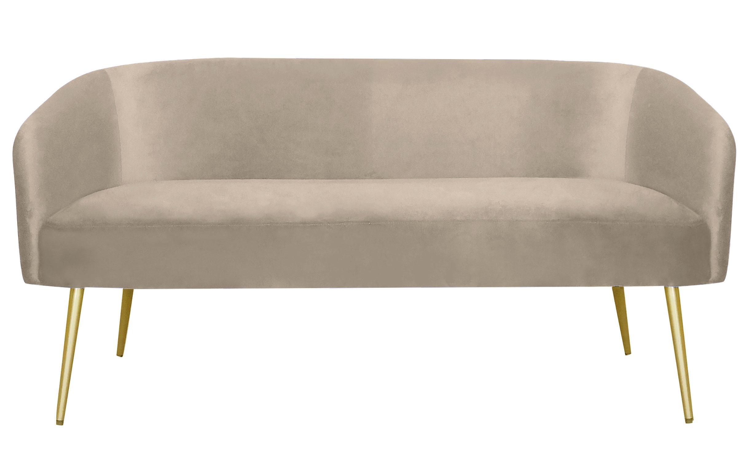 Goldman 2-Sitzer Sofa mit goldenen Füßen und Samtbezug Taupe