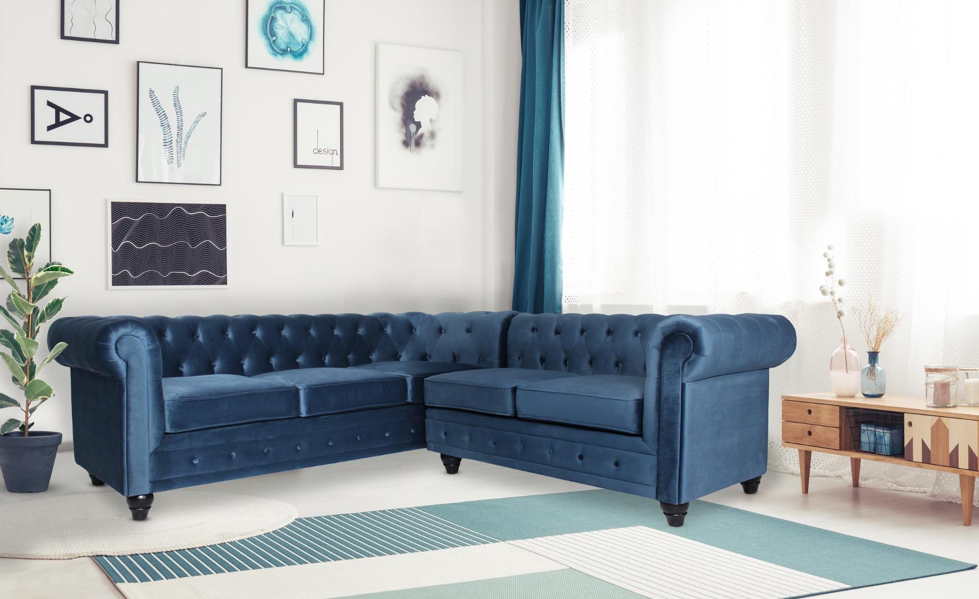 Gustave Ecksofa im Chesterfield-Stil mit Samtbezug Blau