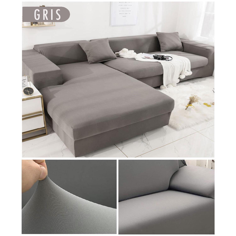 Decoprotect 2+3-Sitzer Stretch Sofabezug Grau
