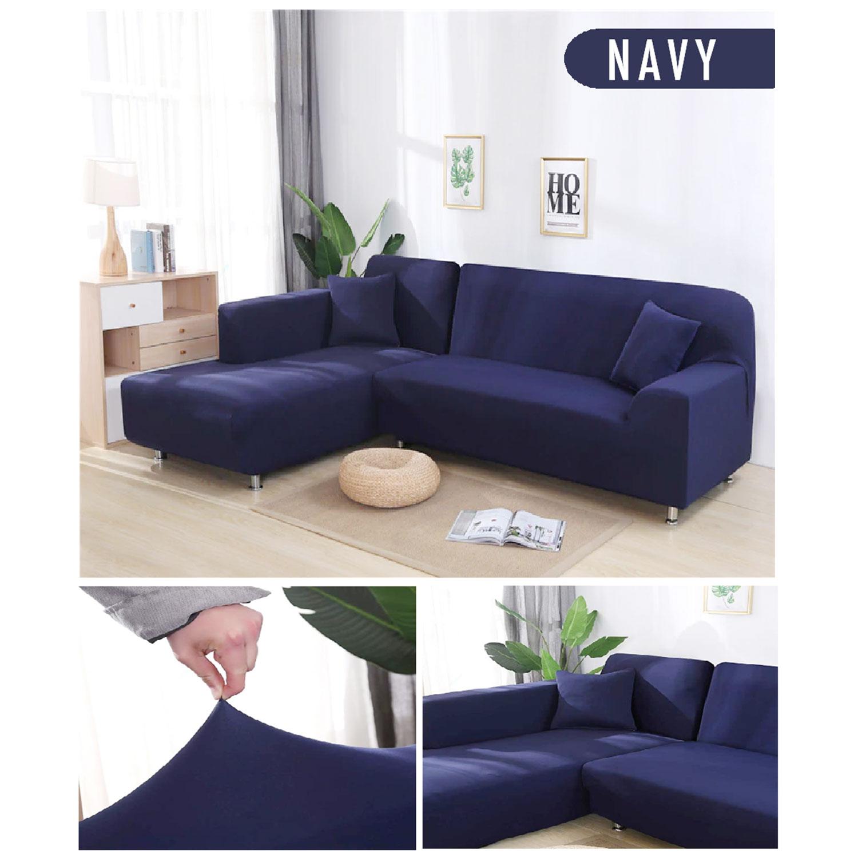 Decoprotect 2+3-Sitzer Stretch Sofabezug Dunkelblau