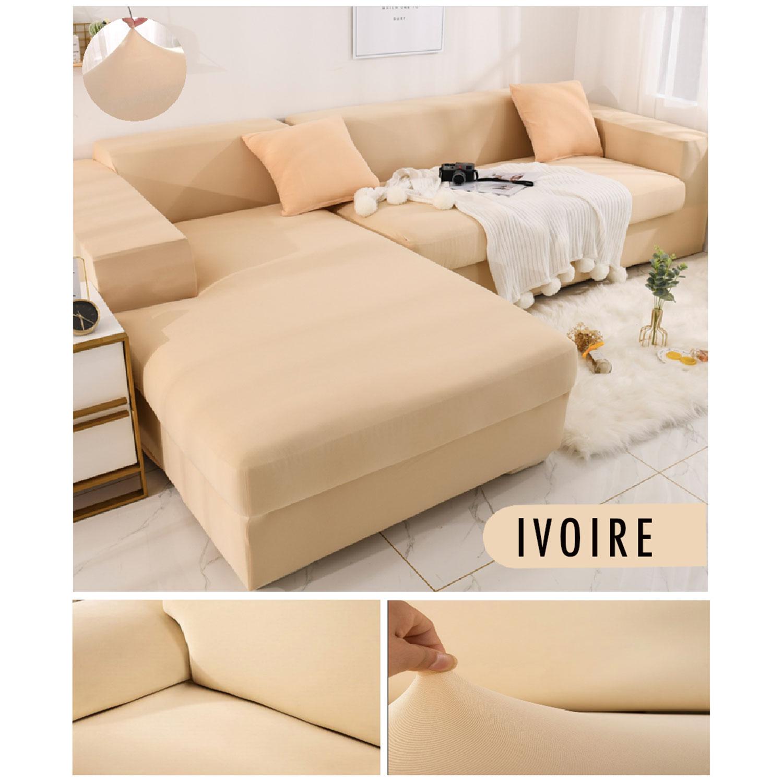 Decoprotect 3-Sitzer Stretch Sofabezug Elfenbein