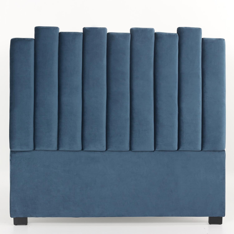 Lucky Kopfteil Bett 140 cm mit Samtbezug Blau