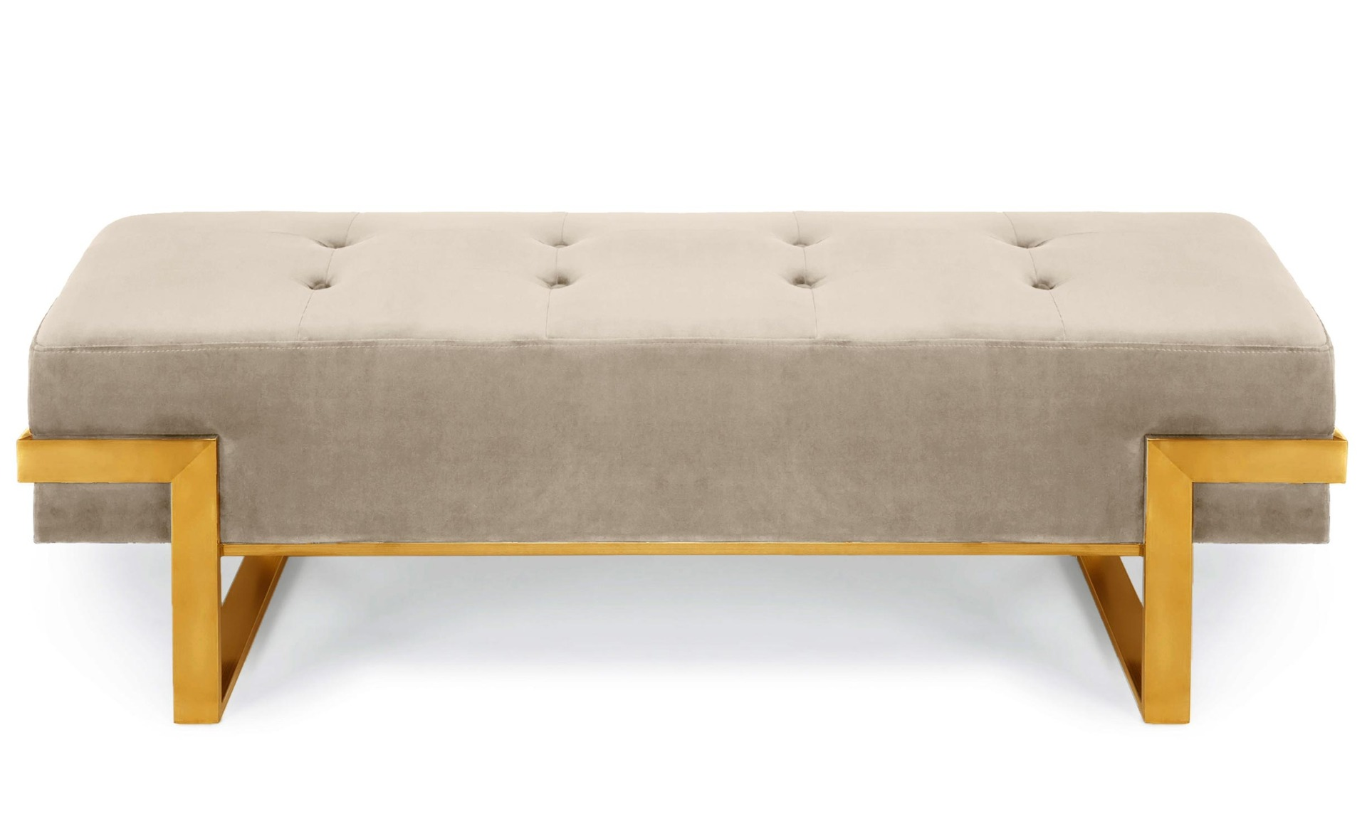 Banquette Istanbul Velours Taupe Pieds Or