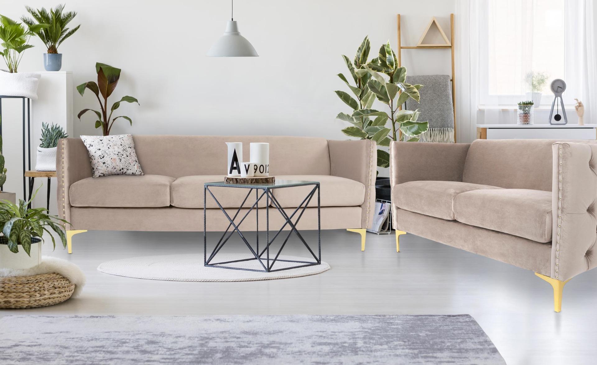 Joshua 2-Sitzer Sofa mit Samtbezug Taupe