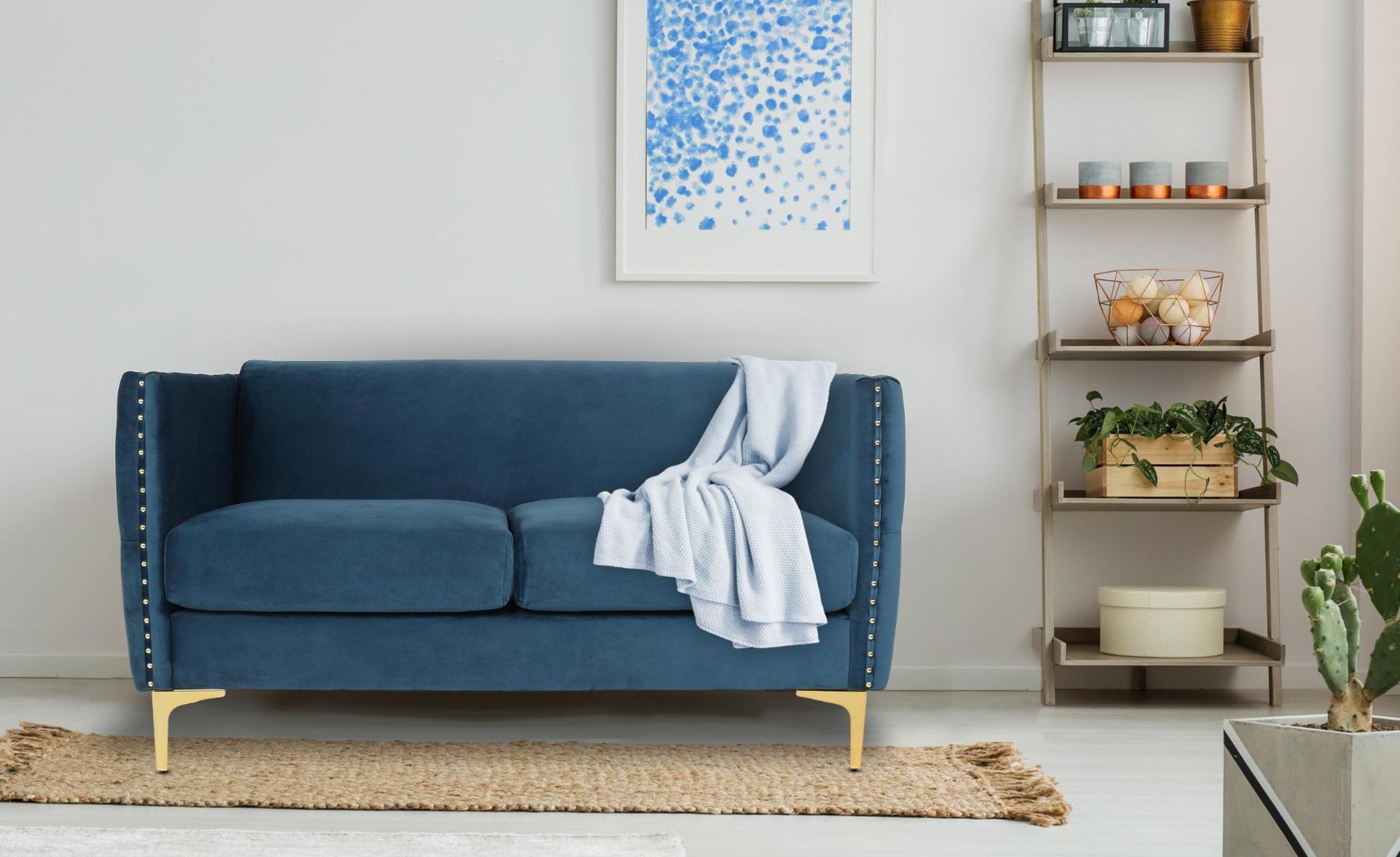 Joshua 2-Sitzer Sofa mit Samtbezug Blau