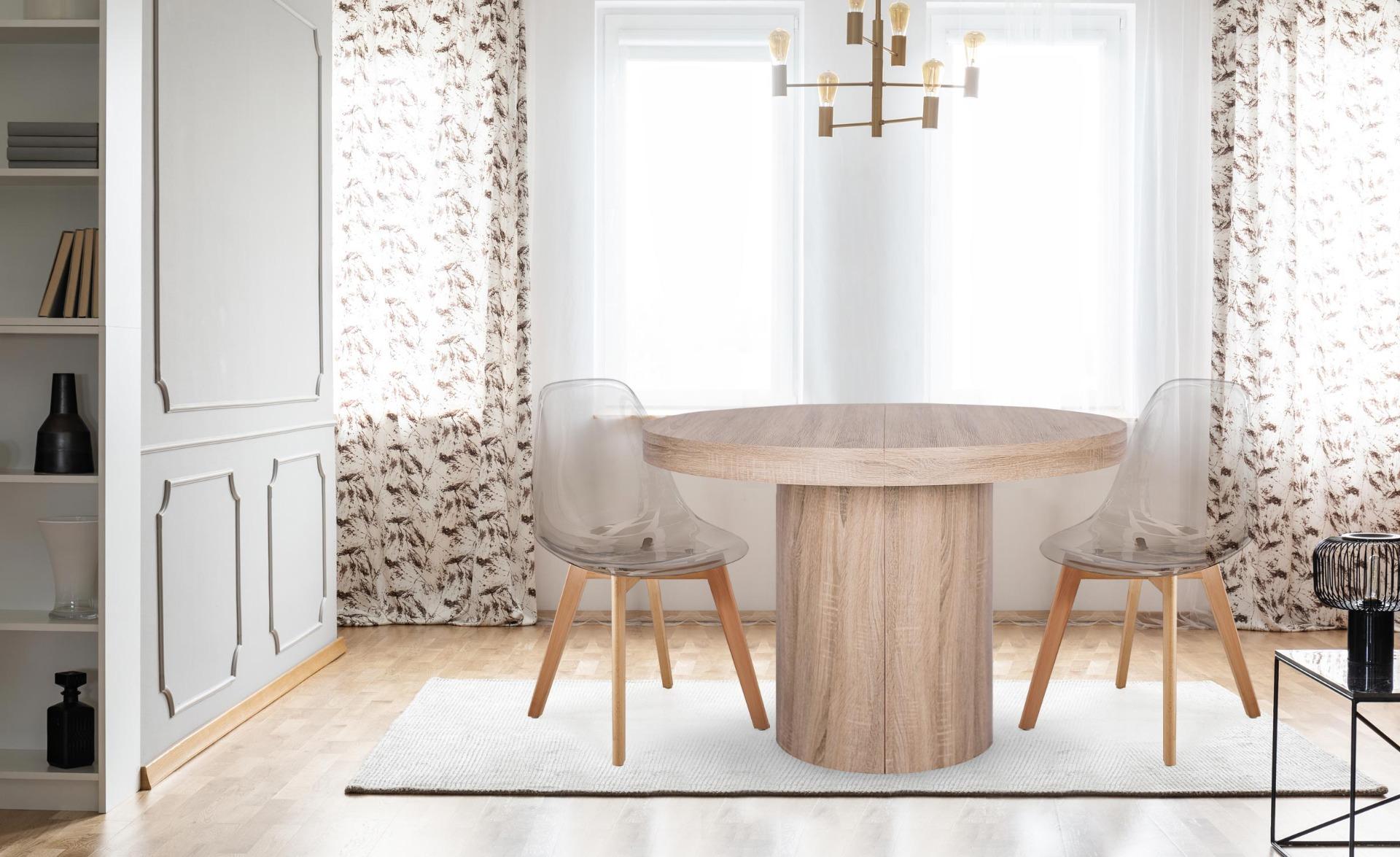 Larry Set mit 4 skandinavischen Stühlen Plexi Dunkelgrau