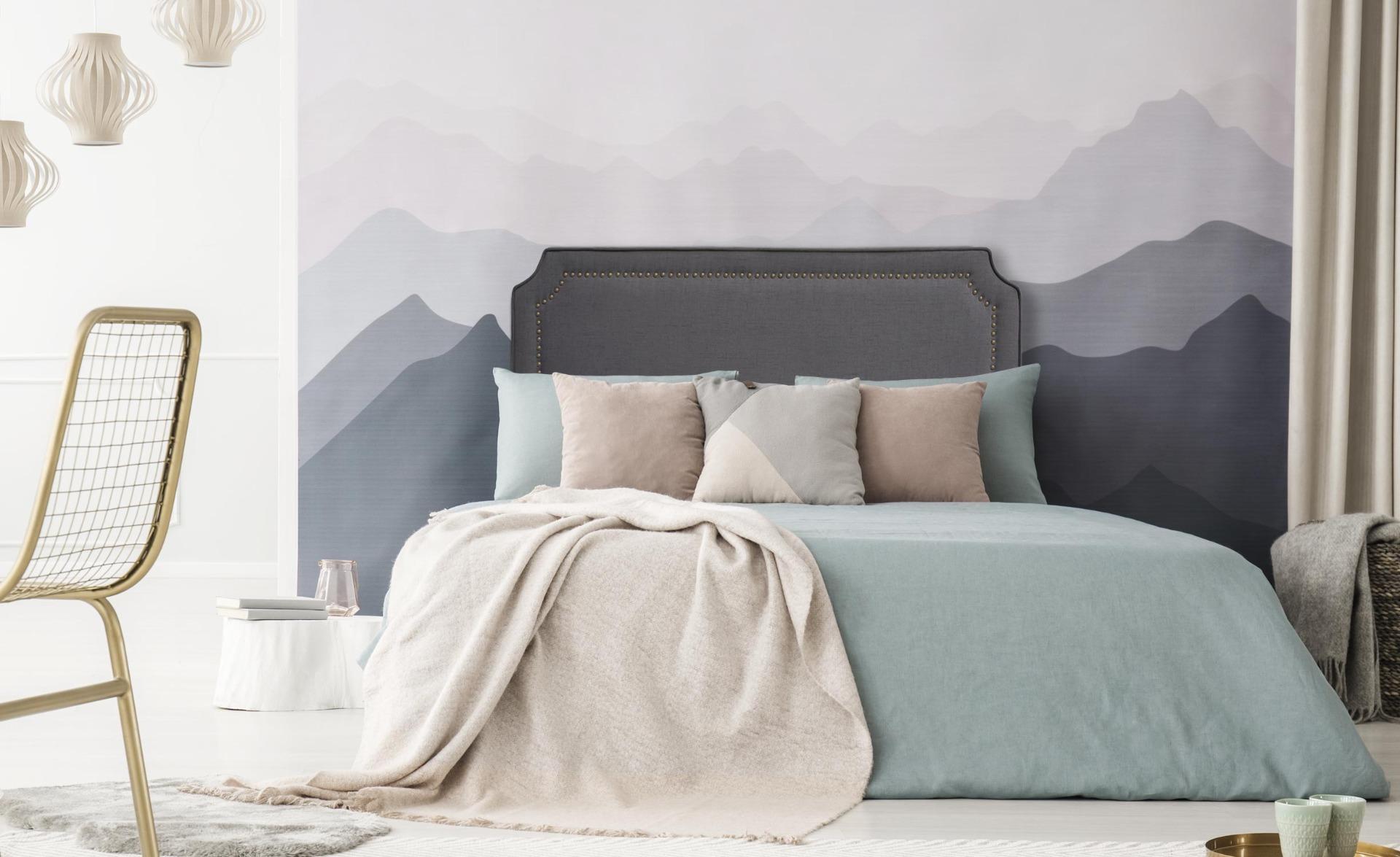 Milana Kopfteil Bett 140cm mit Stoffbezug Grau