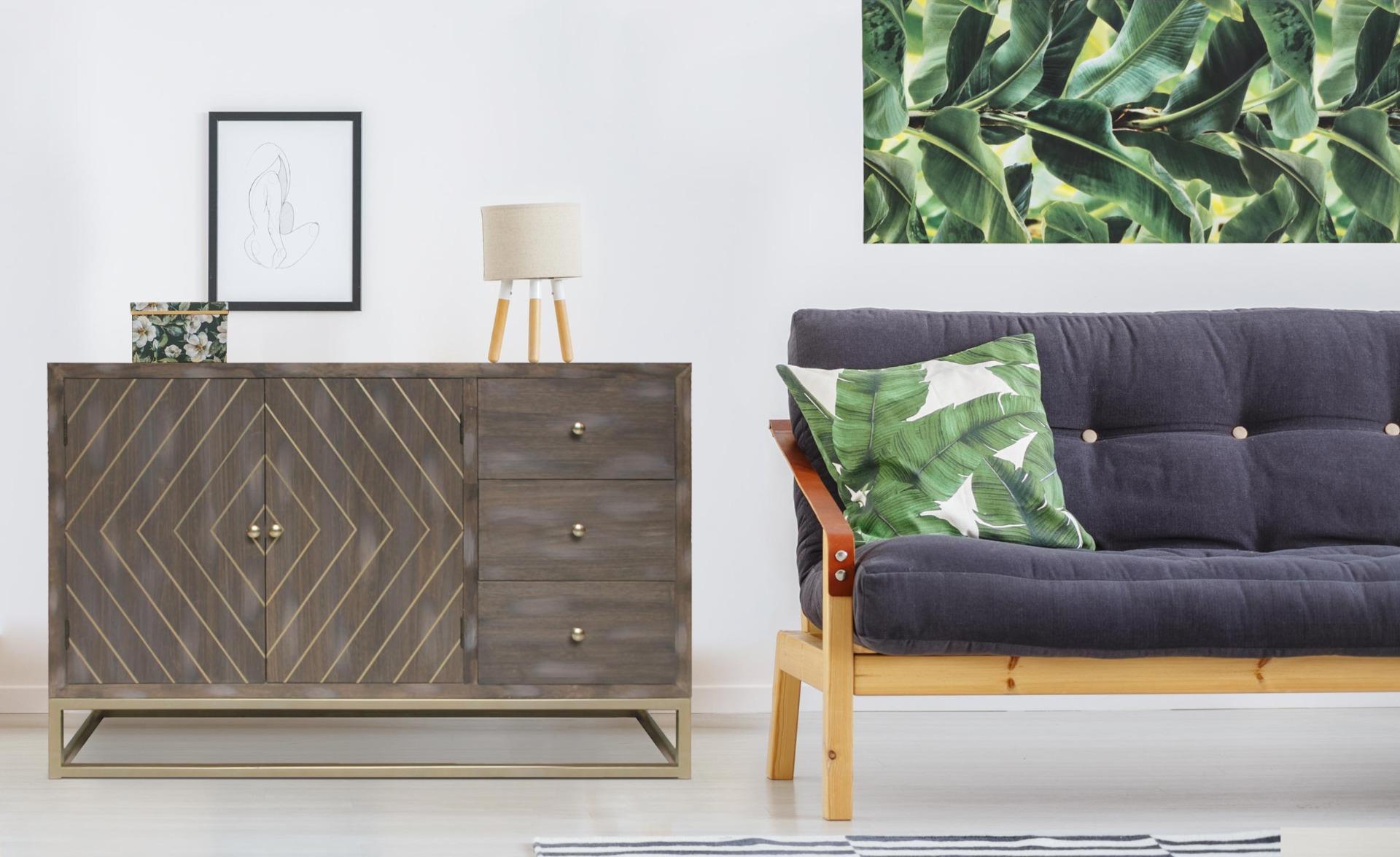 Lipnia Skandinavisches Sideboard mit 2 Türen und 3 Schubladen Vintage Holz