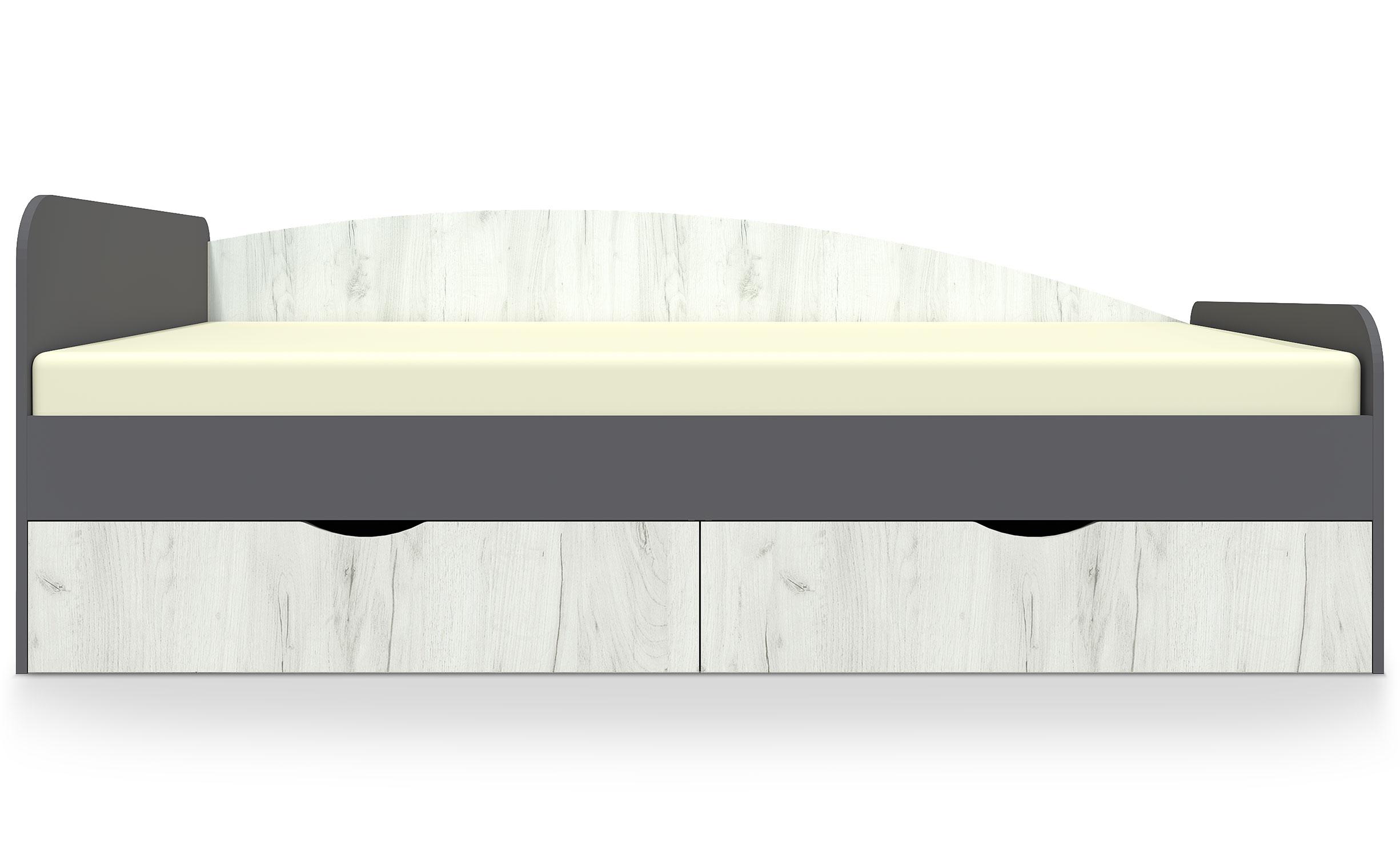 Caradec Kinderbett 90x200cm Grau und helles Holz