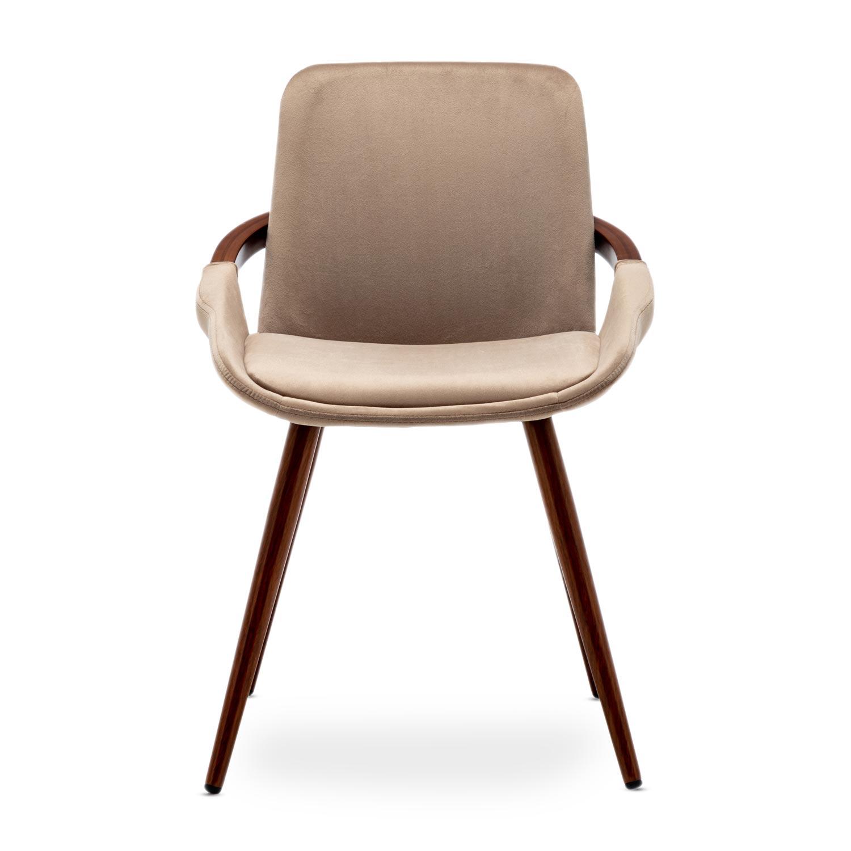 Kilembe Set mit 2 skandinavischen Stühlen mit Samtbezug Taupe