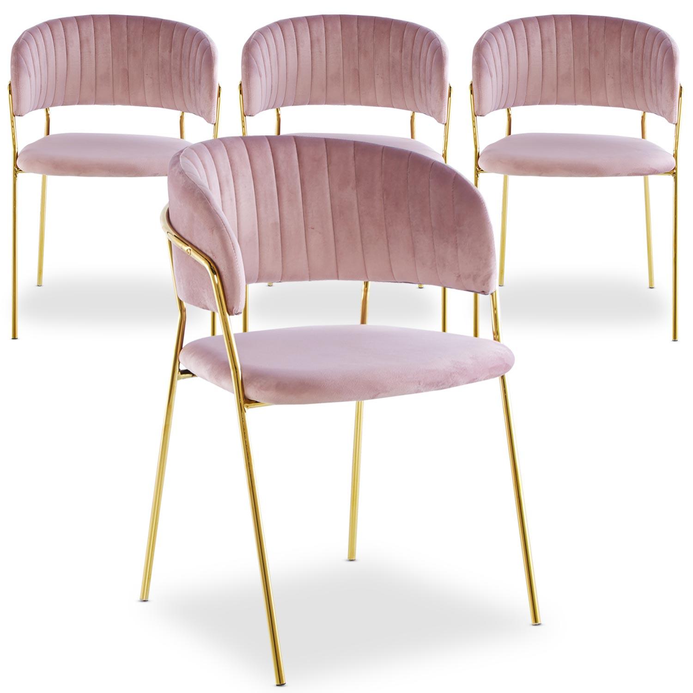Set mit 4 Tabata-Stühlen aus rosa Samt