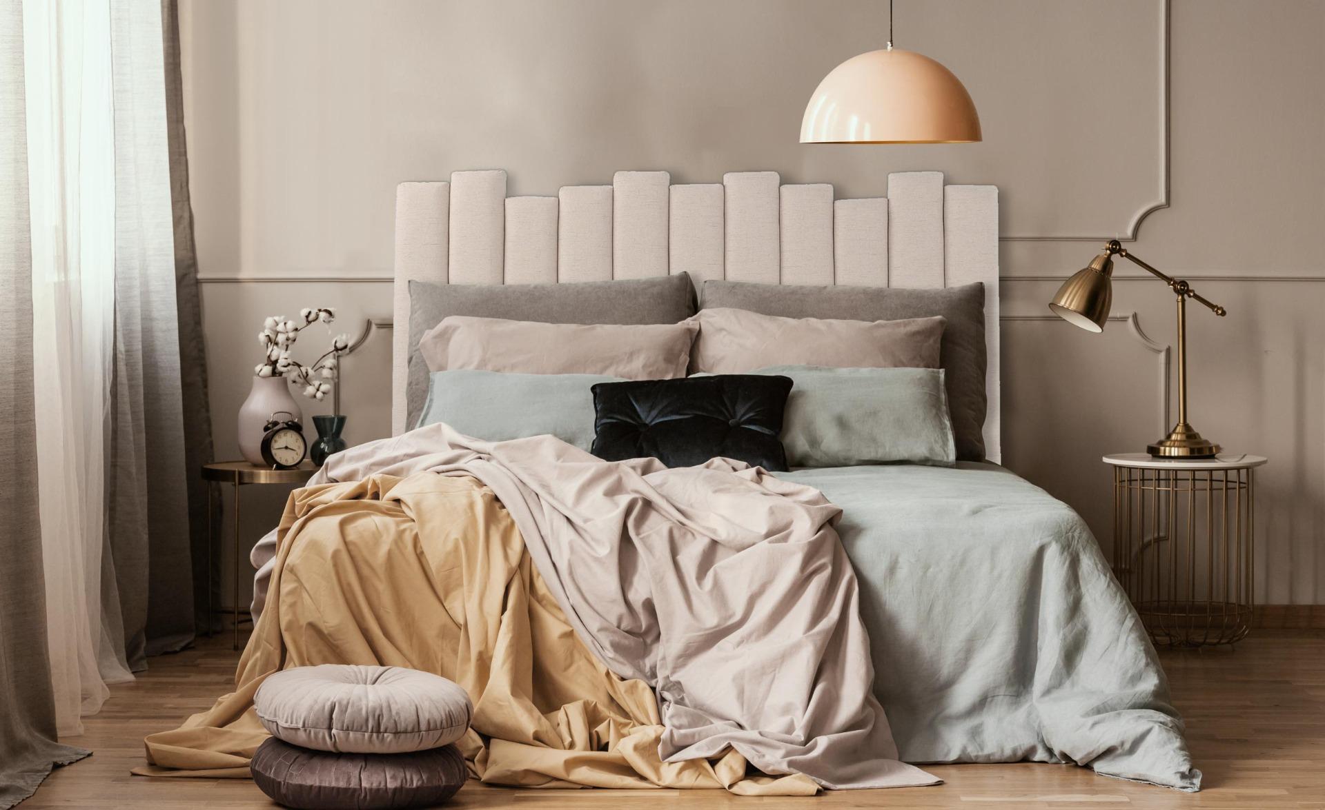 Lucky Kopfteil Bett 140 cm mit Stoffbezug Beige