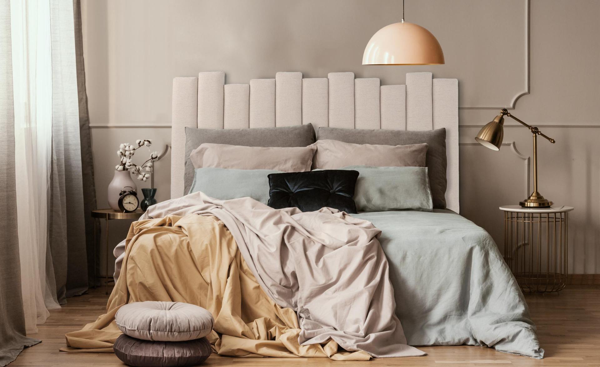 Lucky Kopfteil Bett 160 cm mit Stoffbezug Beige