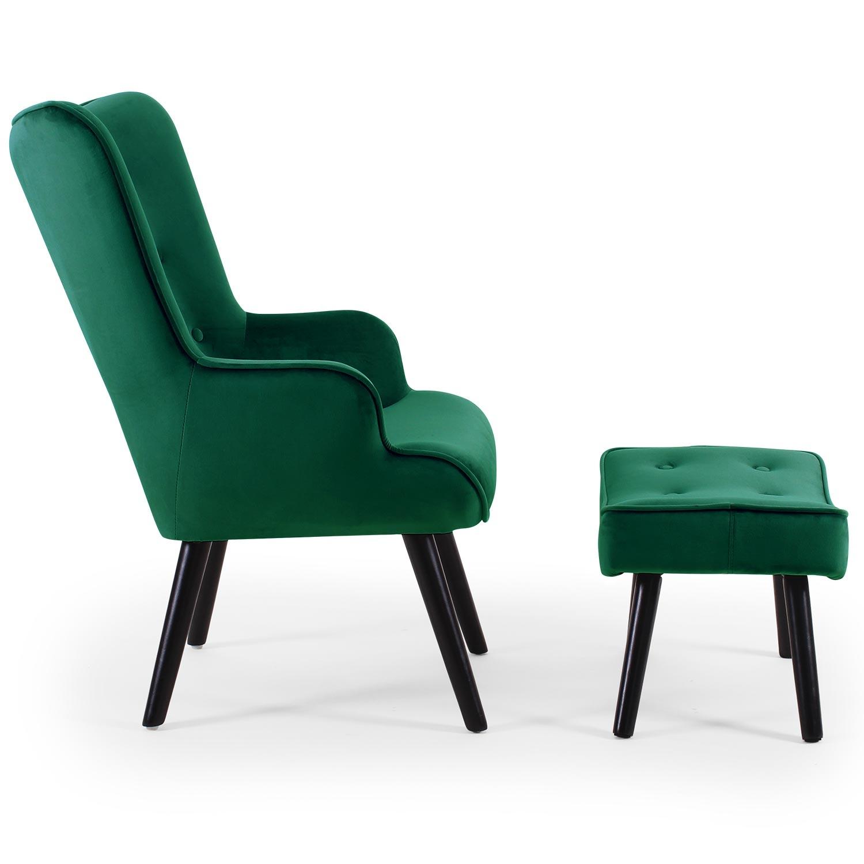 Lylou Skandinavischer Sessel + Hocker, Samtbezug Grün