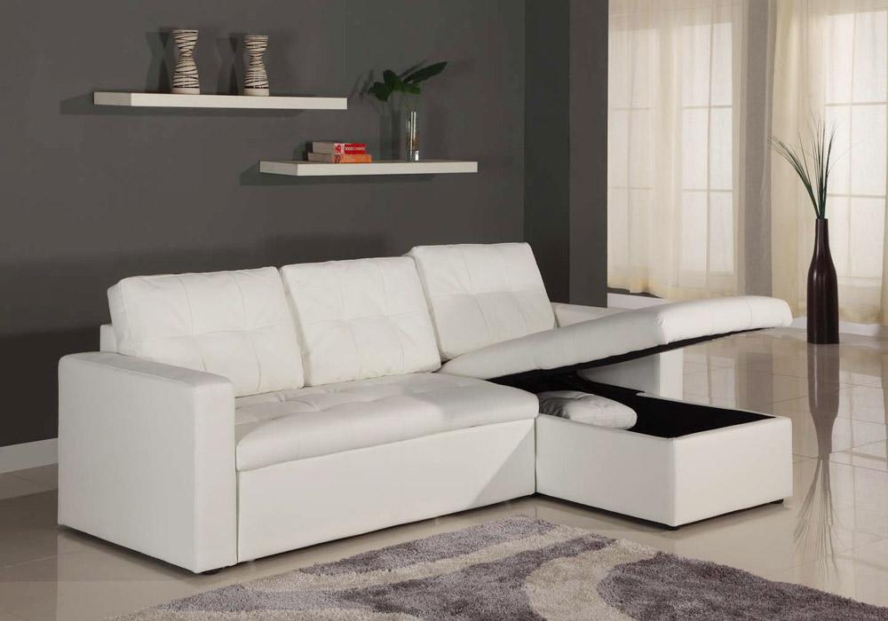 Toledo Ausziehbares Ecksofa mit Kunstlederbezug Weiß