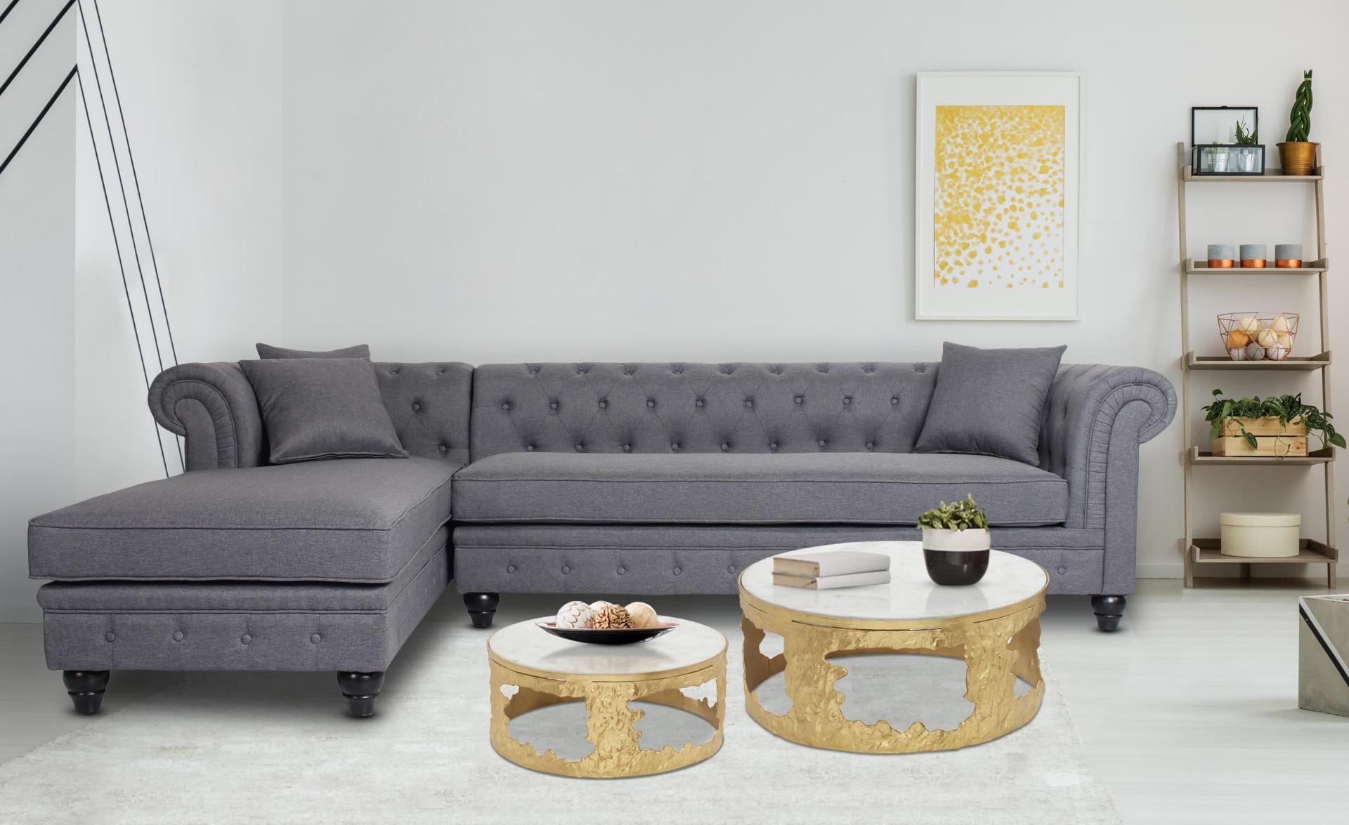 Melton Set mit 2 Couchtischen aus Marmor und Metall Gold