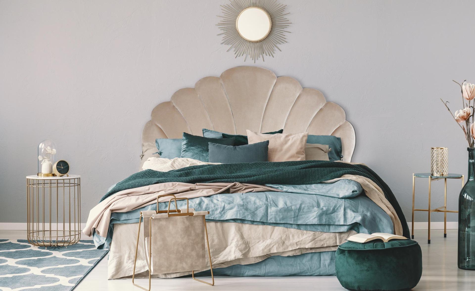 Mermaid Kopfteil Bett 160cm, Samtbezug Taupe