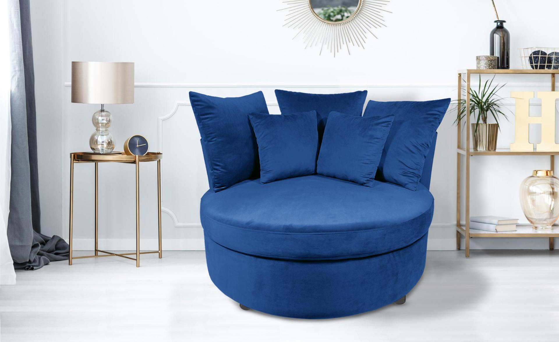 Musso XXL Sessel mit Samtbezug Blau
