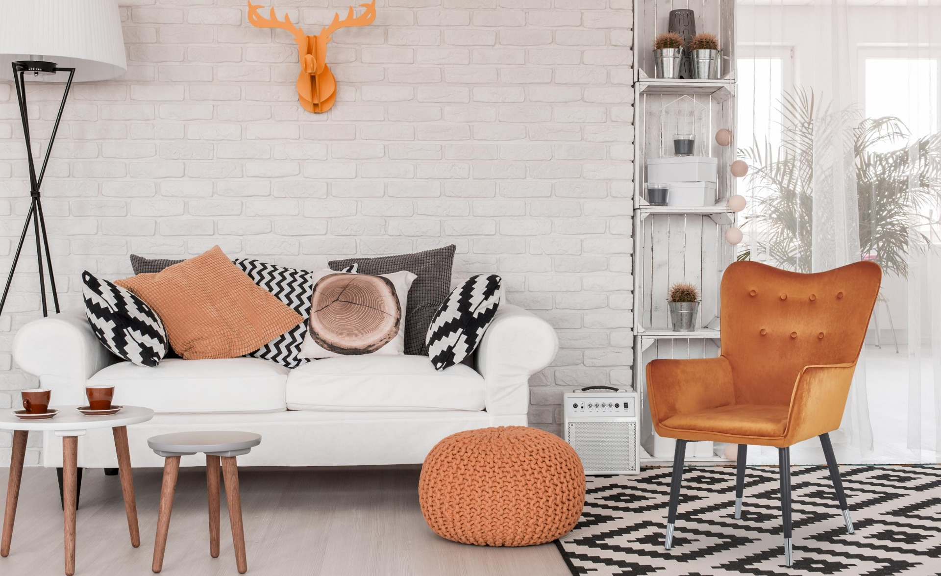 Nadol Skandinavischer Sessel mit schwarzen Beinen und Samtbezug, Orange