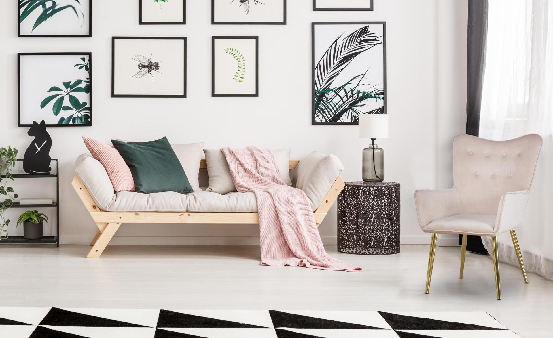 Nadol Skandinavischer Sessel mit goldenen Beinen und Samtbezug, Rosa