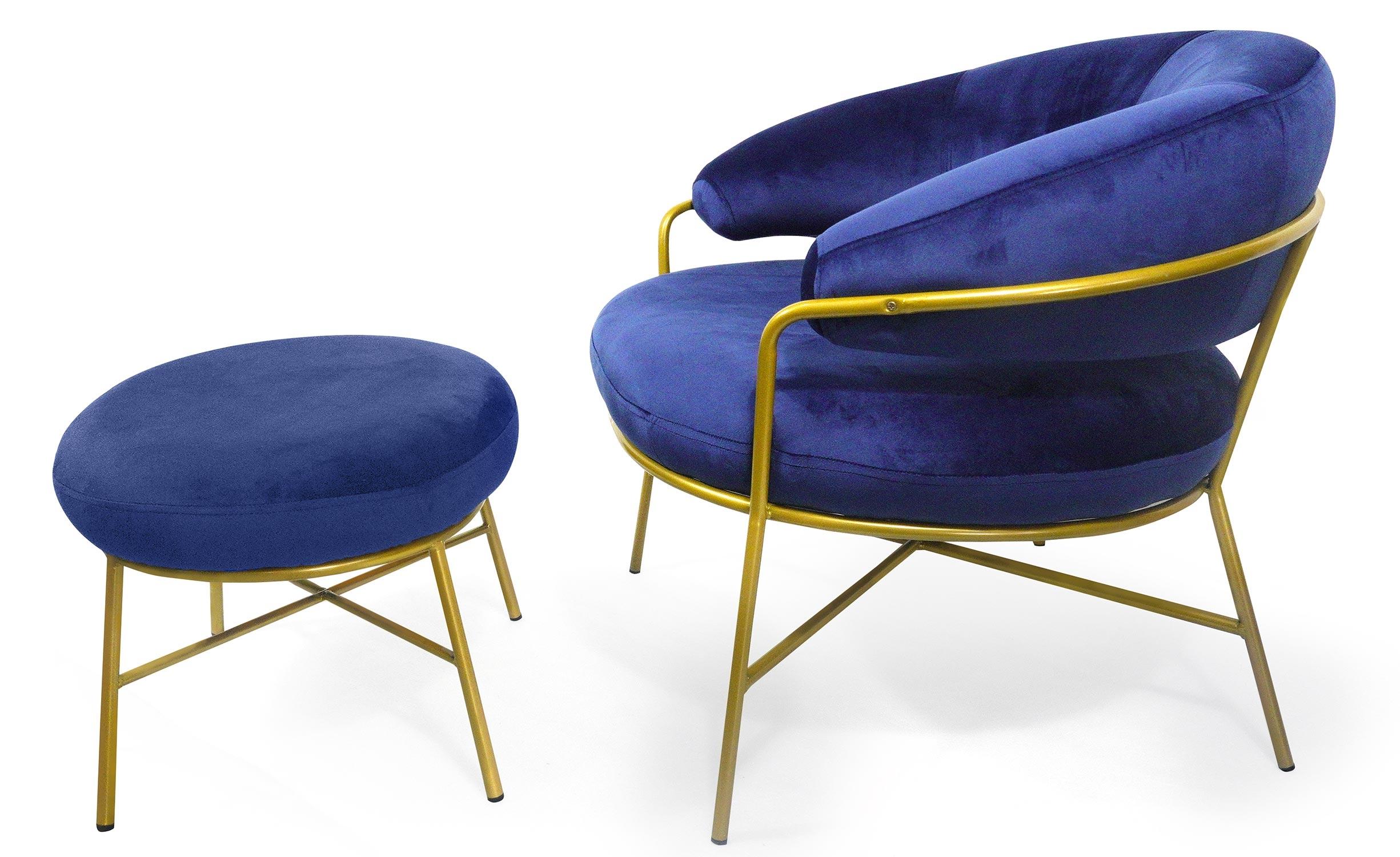 Nanty Sessel + Hocker mit goldenen Beinen, Samtbezug Blau