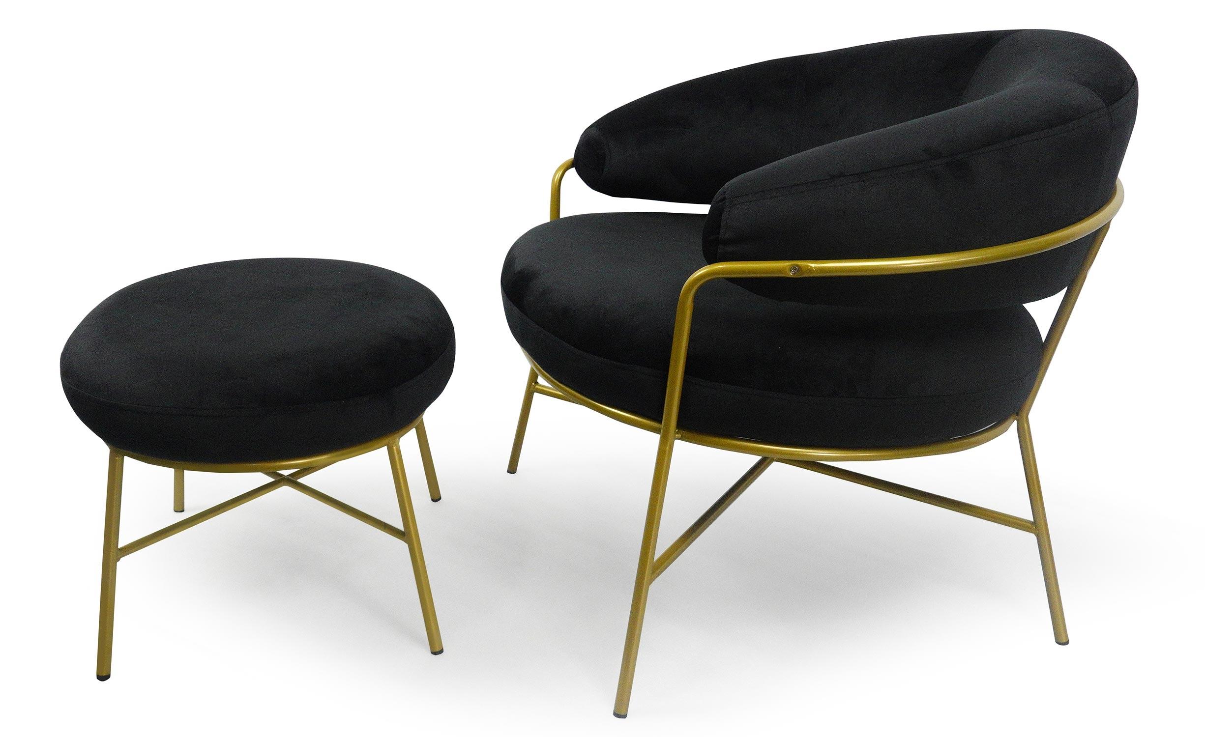 Nanty Sessel + Hocker mit goldenen Beinen, Samtbezug Schwarz