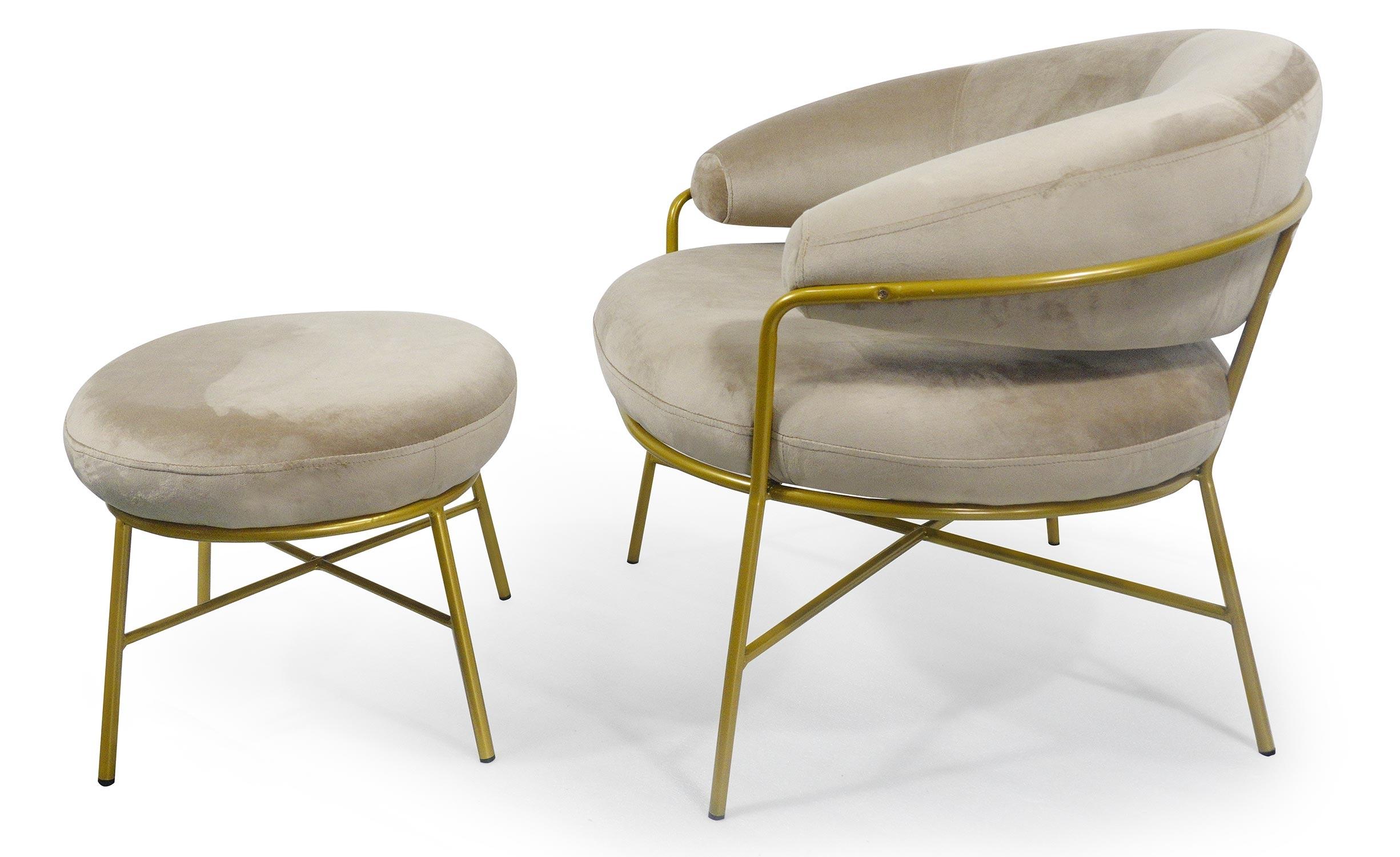 Nanty Sessel + Hocker mit goldenen Beinen, Samtbezug Taupe
