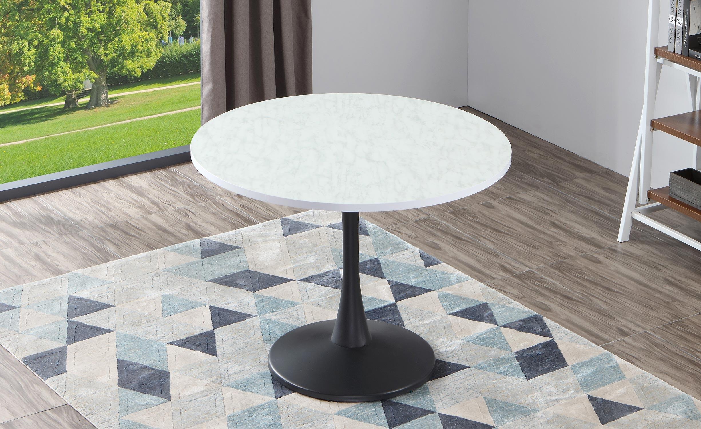 Necy Runder Tisch Schwarz und Marmor Effekt